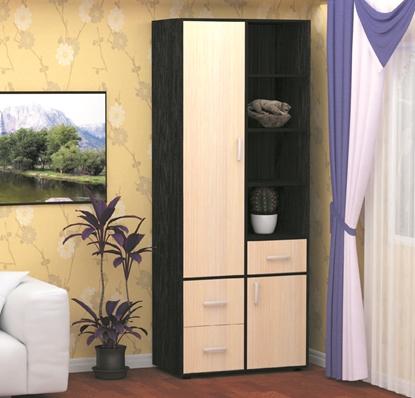 Изображение Шкаф для одежды с полками ТОПАЗ с распашными дверьми